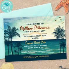 Vintage Tropical Beach Invitation; Birthday Party, Bridal Shower | 2-sided, 7x5 | Editable Digital Printable Template | Edit Online & Print Beach Party Invitations, Invitation Birthday, Digital Invitations, Edit Online, Couple Shower, We Can Do It, Youre Invited, Photo Look