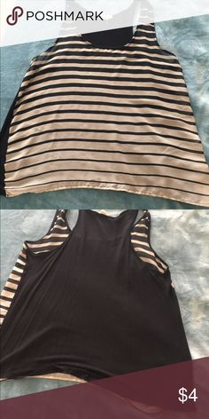 Shirt Sheer stripes in front. Soft cotton black in the back Tops Blouses