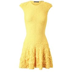 ALEXANDER MCQUEEN Ruffled Stretch Knit Dress ($2,005) ❤ liked on Polyvore