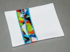 "Crisp White Anything Goes Fused Glass Plate w Band of Colors, 6"" x 8"", Shipping Included, Custom Order Only door OmegaArtDesign op Etsy https://www.etsy.com/nl/listing/214720051/crisp-white-anything-goes-fused-glass"