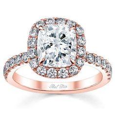 Diamond Halo Rose Gold Engagement Ring
