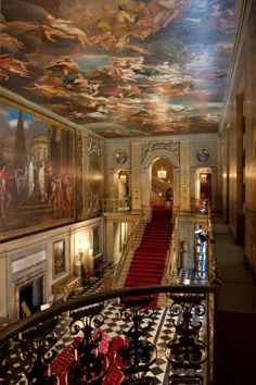 The Great Hall of Chatsworth House, Derbyshire (Although I can't hope to own a palace one day, I can comission an artist do do the ceilings of my dream house. Beautiful Architecture, Beautiful Buildings, Beautiful Places, Beautiful Life, Amazing Places, Arquitectura Wallpaper, The Places Youll Go, Places To Go, Chatsworth House