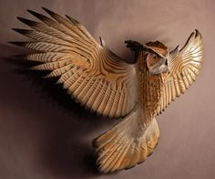 Owl Sculpture hand carved by Jason Tennant Silent by jasontennant, $2300.00
