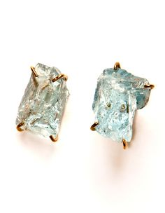 Oh my, these are amazing. Like two glittering gems pulled straight from the earth. Melissa Joy Manning Rough Aquamarine Post Earrings.