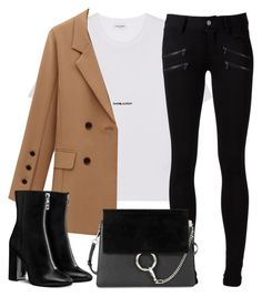 """Untitled #3238"" by elenaday ❤ liked on Polyvore featuring Yves Saint Laurent, Paige Denim and Chloé"