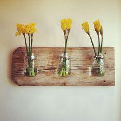 Mason Jar Wall Planter by chateaugerard- http://www.etsy.com/listing/98888740/mason-jar-wall-planter?#