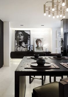A modern black and white penthouse