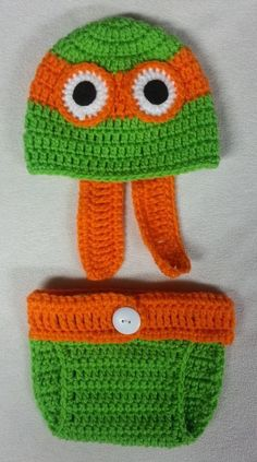 TMNT Ninja Turtles Crochet Baby Hat & Diaper Cover Photo Prop newborn orange #Handmade