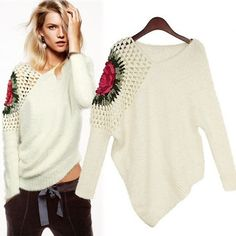Hollow V Neck Long Sleeve White with Floral Pattern Pullover Sweater Lelijk voorbeeld van een leuk idee