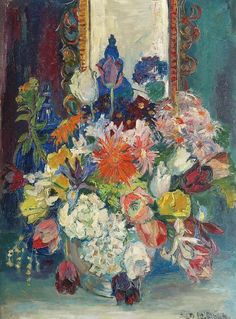 View A summer bouquet By Stien Eelsingh; oil on canvas; 80 x 60 cm; Access more artwork lots and estimated & realized auction prices on MutualArt. Famous Flower Paintings, Paintings I Love, Types Of Painting, Types Of Art, Expressionist Artists, Paint Photography, Dutch Painters, Famous Art, Aesthetic Anime