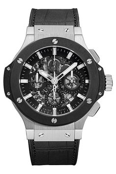 Hublot Big Bang Aero Bang Steel Ceramic Watch - 311.SM.1170.GR. Stainless steel case (44mm diameter) with black ceramic bezel, black alligator/rubber strap and stainless steel clasp, cut-out skeleton dial with black hands, Caliber HUB 4214 self-winding mechanical movement, scratch-resistant sapphire crystal, water-resistant to 100 meters.