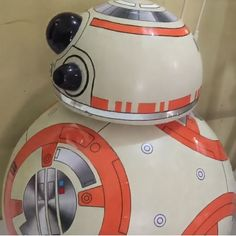 #DIY BB8 made from stryrofoam.  Cover with cutting sticker.  Put a wireless speaker inside the body, connected to your smartphone. Play BB8 sound.