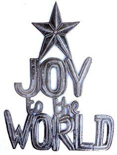 "Joy to the World, Christmas, Recycled Steel, Haiti Metal Wall Art 17.5"" x 13.5"" by ArtUnderTheTree on Etsy"