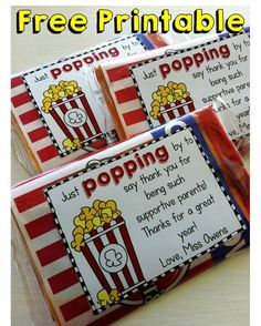 Free printable tag for parents' gifts - print this on full page label paper, cut them out, & stuck them right onto a bag of microwave popcorn