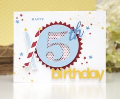 5th Birthday Card by Ashley Cannon Newell for Papertrey Ink (July 2013)