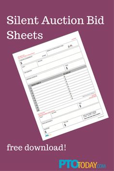 our free bid sheets for your upcoming auction! Silent Auction Bid Sheets, Silent Auction Baskets, Pto Today, Nonprofit Fundraising, Fundraising Ideas, Raffle Baskets, Gift Baskets, School Auction, Auction Items