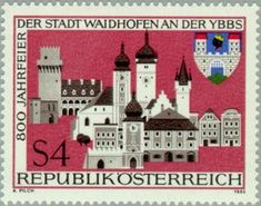 Stamp: Townscape of Waidhofen & coat of arms (Austria) (Waidhofen) Mi:AT 1883 Austria, Coat Of Arms, Postage Stamps, Geography, Taj Mahal, Gallery, Europe, Culture, Club