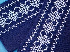 blue/white beaded wrist warmers