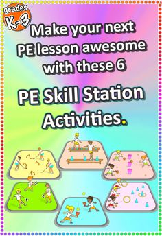 Click to view these these 6 FREE K-3 PE stations to teach in your gym or sports hall - get your kids developing their fundamentals!