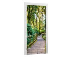 Türtapete Brücke im Wald