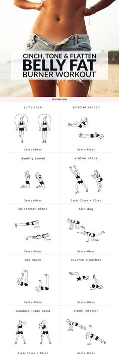 Flatten your abs and blast calories with these 10 moves! A belly fat burner workout to tone up your tummy, strengthen your core and get rid of love handles. Keep to this routine and get the flat, firm belly you always wanted! http://www.spotebi.com/workout-routines/belly-fat-burner-workout-for-women/:
