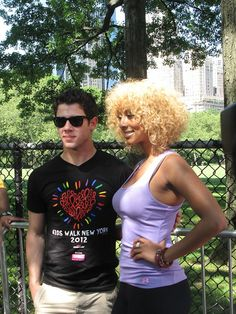 Nick Jonas and Keri Hilson at the 27th Annual AIDS Walk New York on May 20, 2012.