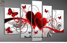 5 piece heart you painting available at www.nuerasamp.com. Suitable for Living rooms, Dining areas, Corridors & Offices.