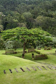 Jardins da casa de campo Atibaia foram criados por Alex Hanazaki, e se inserem na Mata Atlântica circundante com naturalidade. Fotografia: Ricardo Labougle.