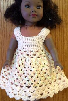 Acrylic Handmade Crochet Summer Dress Preemie/16 to 18 inch Doll Peach/Multi #Handmade