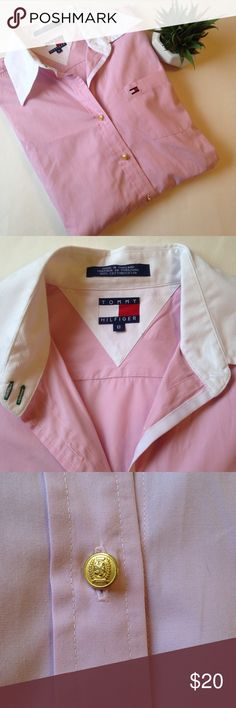 Tommy Hilfiger Women's Pink Button Down Shirt Tommy Hilfiger Women's Pink Button Down Shirt. Size 8. 💗White collar and cuffs. 💗Gold colored buttons 💗No buttons on cuffs 💗100% Cotton 💗Made in Thailand 💗EUC. Worn maybe twice! See photos for details. Tommy Hilfiger Tops Button Down Shirts