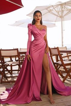 """Customized service and Rush order are available. *** Customers need to know : All of the dresses don't come """"on the shelf""""(Our Dresses are all custom-made).We strongly recommend you to select """"Custom Made"""" to ensure the dress will fit you when it arrives. . This dress could be custom made, there are no extra cost to do custom size and color. If the color box is not in your requirement, please check the color chart When you choose color name, please leave us a message that which color that you wa Evening Dress Long, Long Sleeve Evening Gowns, Prom Dresses Long With Sleeves, Off Shoulder Evening Gown, Evening Party, Glam Dresses, Elegant Dresses, Beautiful Dresses, Fashion Dresses"""