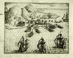 """""""The attack of the Dutch and the Hitu on  the Portuguese at Ambon in 1605. """" Isaac Commelin, 1645."""
