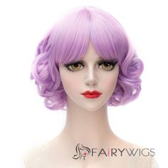 Sweet Purple Mixed Lolita Style Synthetic Middle Part Short Curly Capless Women's Wig Medium Hair Styles, Short Hair Styles, Cheap Cosplay Wigs, Best Lace Wigs, Purple Wig, Short Human Hair Wigs, Hairdo Wedding, Wigs Online, Costume Wigs