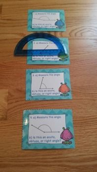 Measuring Angles with a Protractor Task Cards 4.MD.6, serve as a valuable asset to any 4th grade classroom. This is a great resource for review, math centers, group work, interventions, or a whole class activity. This measuring angles task card set includes 32 cards. For these task cards, measure the angle with a protractor to find the degrees of the angle and then determine if the measured angle is acute, obtuse or right. Your students will love learning about measuring angles with this…