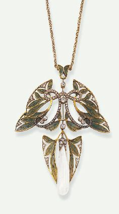 AN ART NOUVEAU DIAMOND, PLIQUE-A-JOUR ENAMEL & PEARL PENDANT NECKLACE, BY HENRI VEVER  Designed as openwork green plique-à-jour enamelled stylized leaves, enhanced by scrolling rose-cut diamond & diamond collet trim, suspending an elongated baroque pearl, measuring approximately 7.30 x 29.00 mm, accented by an old European, single and rose-cut diamond cap, within a similarly-set foliate surround, mounted in 18k gold,(with brooch stem attachment & screwdriver), circa 1907.  Signed Vever…
