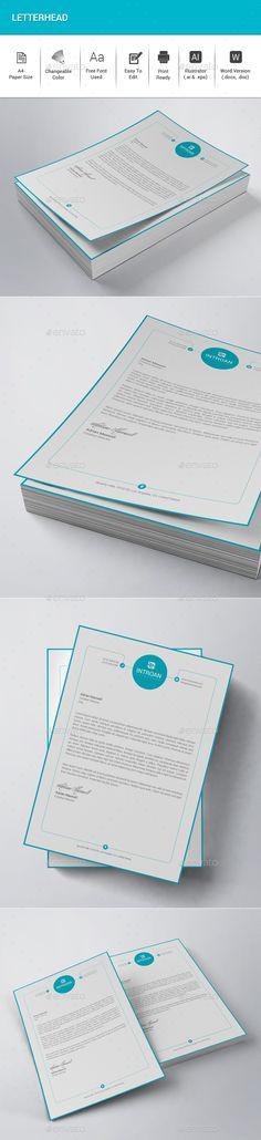 Letterhead Design Template PSD, Vector EPS, AI Illustrator, DOCX and DOC