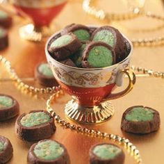 Pistachio Buttons Cookies Recipe from Taste of Home -- This cookie recipe makes a big batch, which comes in handy during the holidays.  —Nella Parker, Hersey, Michigan