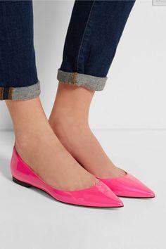 Jimmy Choo Alina neon patent-leather point-toe flats