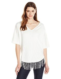 NY Collection Womens Elbow Dolman Sleeve Rounded Bottom Frindged Sweater Innocence Medium >>> Read more  at the image link.