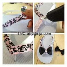 a second idea to spice up my flip flops! just add pedicure too! - a second idea to spice up my flip flops! just add pedicure too! Flip Flops Diy, Ribbon Flip Flops, Flip Flop Craft, Diy Ribbon, Ribbon Crafts, Ribbon Wrap, Umgestaltete Shirts, Decorating Flip Flops, Flipflops