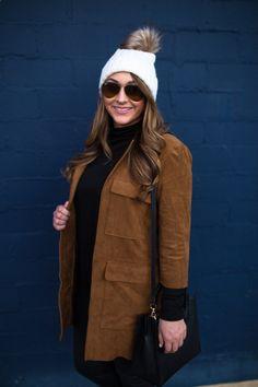 suede-jacket-beanie- rayban sunglasses