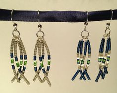 Beaded Seahawks Feather Earrings by SimpleJoyDesigns on Etsy, $15.00