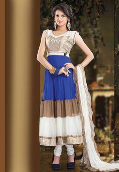 Blue, White and Fawn Net Readymade Anarkali Churidar Kameez Online Shopping: KMK364