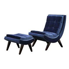 Hasselt Velvet Chair and Ottoman Set