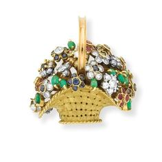 Gold, Colored Stone and Diamond Basket Brooch Signed Antoniozzi, # F5530, ap. 12.7 dwt.