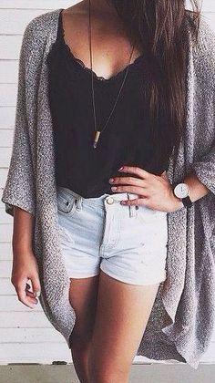 Gray cardigan + black tank top + light denim shorts  Summer outfit