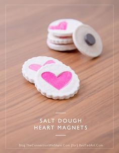 Spread the love this Valentine's Day by making these simple and cute Salt Dough Heart Magnets from Hello Wonderful–a thoughtful gift for friends, classmates, and teachers! Mothers Day Crafts, Valentine Day Crafts, Valentine Heart, Holiday Crafts, Crafts For Kids, Kids Valentines, Diy Xmas, Salt Dough Crafts, Gifted Kids