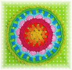 The free crochet pattern for this mandala is in German so you'll have to use a translator online to follow it