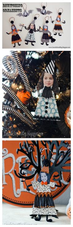 DIY Bewitching Halloween Ornaments - use pictures of your kids... way too cute!