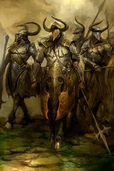 Centaurs by kekai kotaki | Fantasy centaurs warriors